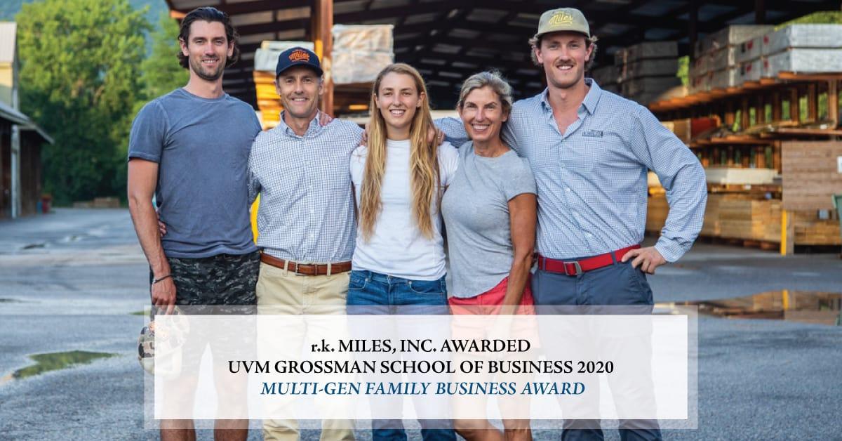 AwardBanner | r.k. MILES, INC. AWARDED UVM GROSSMAN SCHOOL OF BUSINESS 2020 MULTI-GEN FAMILY BUSINESS AWARD